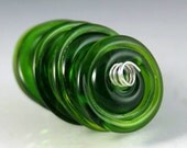 RESERVED for Fire Divas Team Treasury Giveaway - Green Disks - Handmade Lampwork Beads