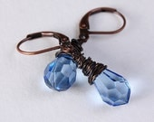 Blue tear drop and antique copper leverback earrings READY to ship (211) - Khalliahdesign