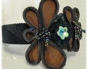 Leather Headband / Dragonfly Motif