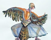 Original Watercolor Bird Dancer Series Dove