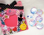 Set of 5 Kawaii Halloween Ghost Pinback Buttons Cute Grab Bag Party Favor