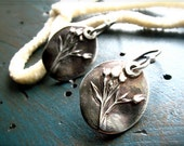 wildflower flax botanical silver earrings : hand crafted fine and sterling silver, delicate budding blooms