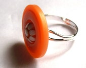 Button Ring Adjustable Orange, with vintage Flower Cabochon