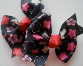 Hair Bow - Little Girl Hairbows - Colored Flowers Pinwheel Bows - Set of Two Pigtail Bows - Black with Pink Red and White Flowers - TessieLou