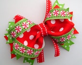 Peppermint and Polka Dot Winter Boutique Bow with Spikes