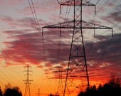 Stunning Sunset Photograph. Fine Art Landscape 8x10 Print. Architectural Power Lines. Fiery Orange and Hot Pink.