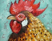 Rooster 500 12x12 inch original oil painting by Roz