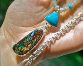 SALE Boulder Opal and Chrysocolla with Australian Opal and Sleeping Beauty Turquoise Necklace