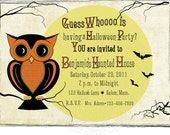 Custom Vintage Halloween Owl Invitations -- Set of 10