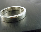 "Mens Wedding Band - Hammered Sterling Silver ""Watery Ripple"" Ring"