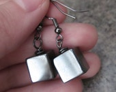 Mod/Modern Geometric Cube Gemstone Earrings in Hematite & Gunmetal