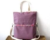 Messenger tote shoulder shopping school large bag handbag cross body bag mauve lilac violet pink floral cotton handmade - meilingerzita