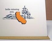Hella California  greeting card - miss you - vintage style card - friendship - blank card