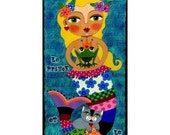 Mermaid, Frog Prince and Cat 5 x10 PRINT of  painting by LuLu
