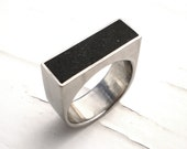 Black Ring, Ebony Concrete and Stainless Steel Chunky Rectangle Ring, Hollow Form - Nightshade