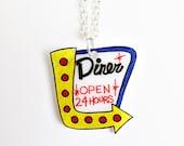 Diner Sign Necklace