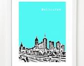 Melbourne Australia Poster  8x10 City Skyline Art Print