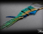 Feather Hair Clip: Peacock Sword and Golden Beads