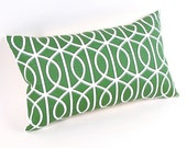 "Green and White ""Bella Porte"" Pillow Cover 12"" x 20"""