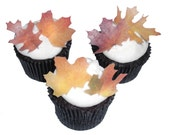 Edible Leaves - 24 Cupcake Decorations Toppers - September Wedding Cake - Autumn Fall