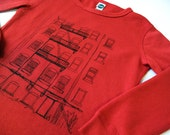 Brooklyn Alley Toddler Tshirt, Hand-Printed Lithograph, Rockstar Red, Long Sleeve, 4T