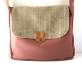 SALE - Brown Tweed Canvas and Mauve Wool Utility Messenger Bag - Ready to Ship