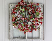 Colorful Christmas Medium Sized Rag Wreath with Riley Blake Fabric