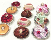 Laduree Desserts in Rows ORIGINAL Watercolor Painting 5.5 x 8.5 - tart, st. honore, praline