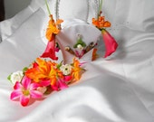 Tropical Flower Girl Basket Headband And Bracelet With Pink And Orange Lillies For Your Wedding Day