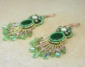 Earrings, Beaded, Halo Angel, Jade and Pearls, Chandelier, Green, Gold, and Pink