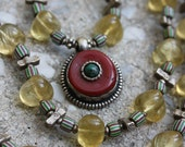 Yellow Fluorite Necklace with Tibetan Coral Silver Turquoise Pendant