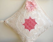 Pillow Cover With Handmade frayed shabby chic flower appliqued