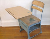 Vintage Child's School Desk and Chair Wood Metal Mid Century Envoy