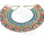 XLRG  Egyptian  beaded  Queen Cleopatra Necklace 9 Scarab