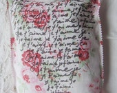 Je T'aime French I Love You Love Notes Pillow Decorative Boudoir Pillow Floral Red and Pink Roses Valentines Day