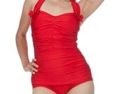 Rita Ruched Front Bow Back Onepiece Halter Swimsuit in Red (S-2X) - FablesbyBarrie