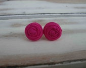 Flamingo tiny fabric rosette earrings
