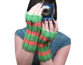 SALE Dinosaur fingerless gloves - orange and green hand knit stripes with t-rex buttons