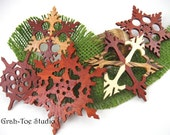 Ornaments Wooden Snowflakes Decorations Christmas Yule Hanukkah Holidays Winter Garland Ornament