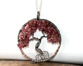 Pink Tourmaline Tree Of Life Necklace----October Birthstone, 8th Anniversary Gemstone