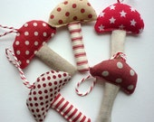 Fabric toadstools Christmas decorations