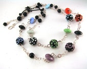 Artisan Lampwork, double strand sterling silver linked necklace, Halloween Colors with black onyx