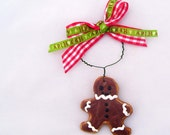 Kitschy Gingerbread Man Christmas Ornament Royal Iced Sugar Cookie Paper Clay Retro Red White