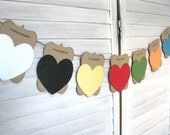 Embossed HEART Banner add on - choose your pair to add on to any kraft banner - wedding, holiday, home decor - Rustic Elegance