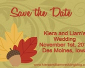 Printable Save the Date Fall Leaves Wedding DIY