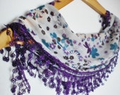 multicolor scarf- blue green purple white- christmas sale
