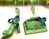 Green High Heel Sandal and Fancy Purse Earrings Handmade FREE SHIPPING - SoCool Collection