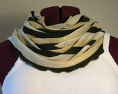 Infinity scarf holiday fashion green shimmer stripe