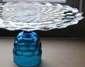 "12"" Cake Stand / Glass Cake Stand / Wedding Cake Pedestal / Vintage Crystal Glass Cake Plate Pedestal Truffle Stand Cupcake Stand Teal Blue"