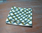 square plaid plates